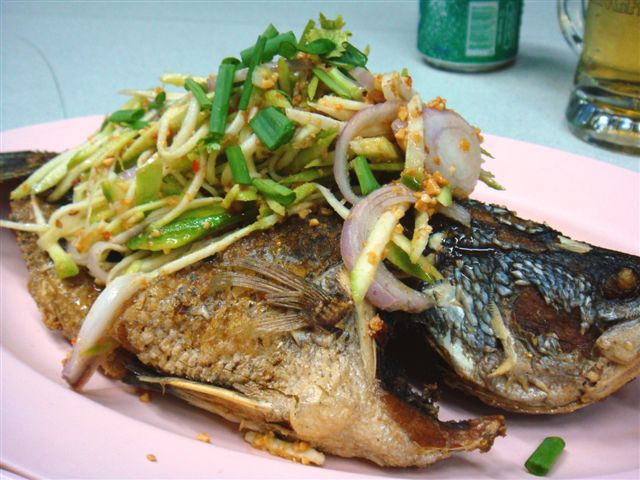 Deep Fried Fish with Green Mango Salad (Som Tam) topping