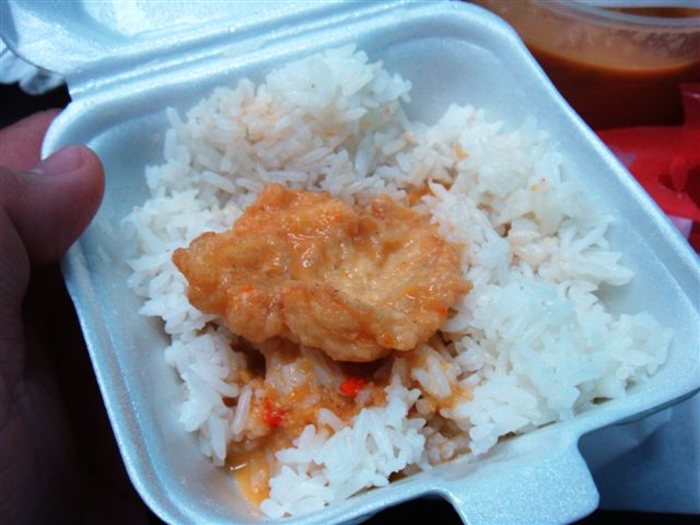 Rice is packed in burger boxes so that it's easier to eat