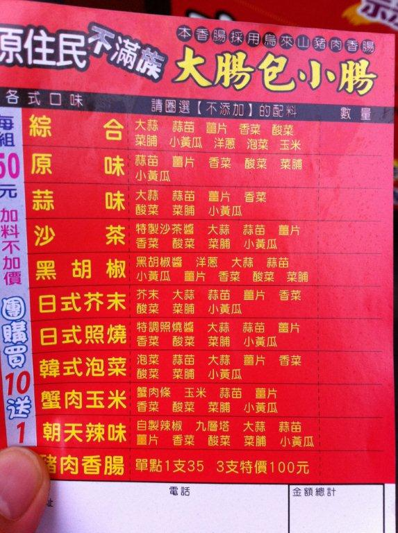 Menu of different topping options.