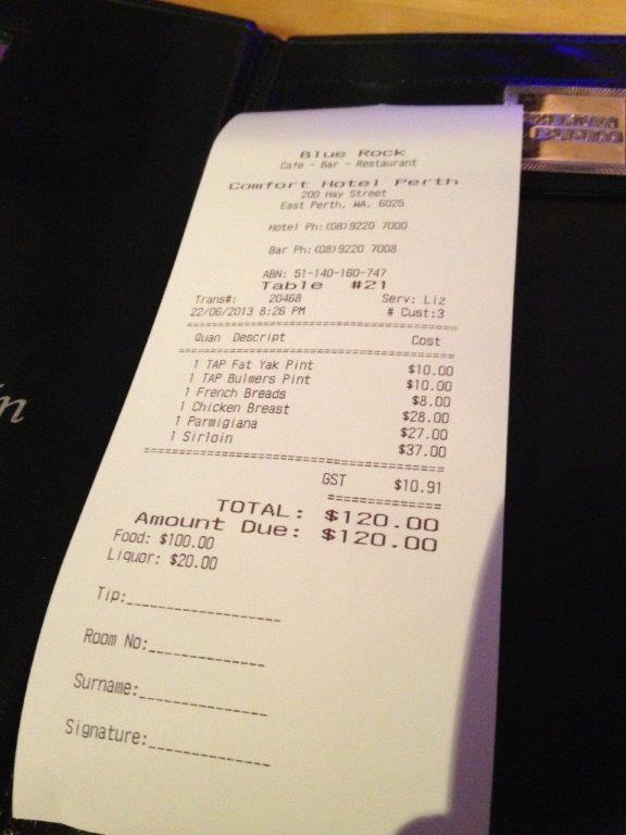 Bill for 3 pax