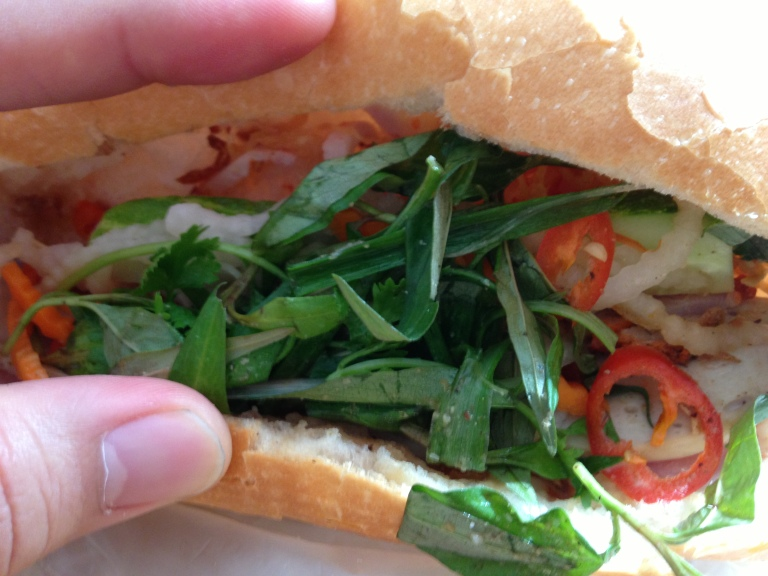 Fillings for Banh Mi, Vietnamese use a lot of veg and garnishings... Love this baguette!