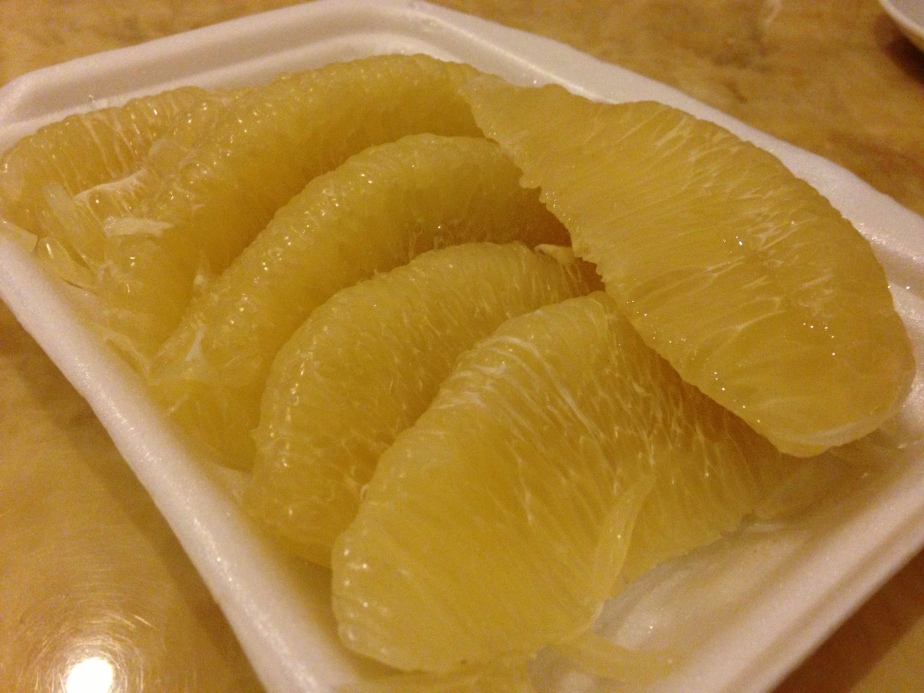 You get pomelo peeled for you in packets like these for VND20,000 (S$1.20)