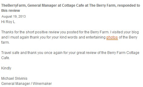 Response from Cottage Cafe @ Berry Farm