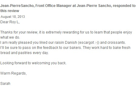 Response from Jean-Pierre Sancho