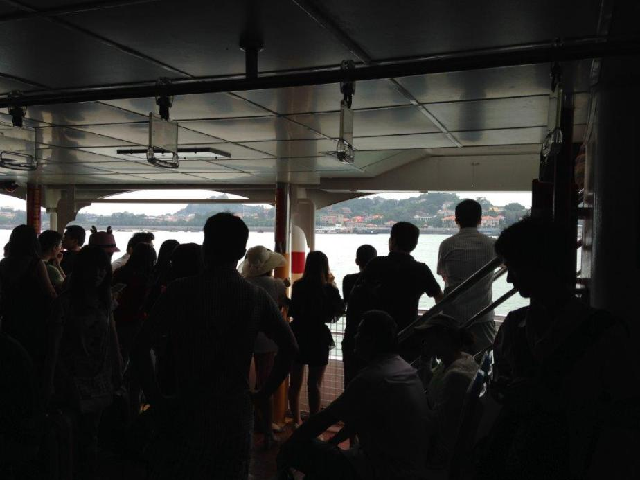 In the ferry reaching Gulangyu... about 15mins ride