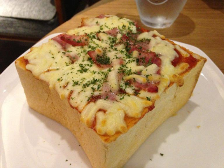 Pizza toast... Ingredients not a lot and toast is so thick... was basically eating bread...