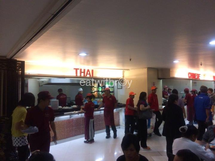 The Thai and Chinese stalls are under the same management. You can just order from any of the staff walking around in red caps.