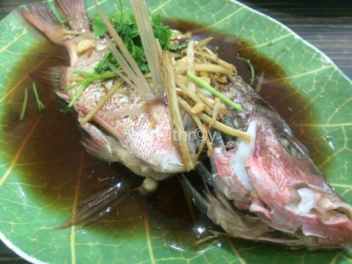 Steam Red Snapper RM$45 (S$18) - Love this fish! Fresh and good!