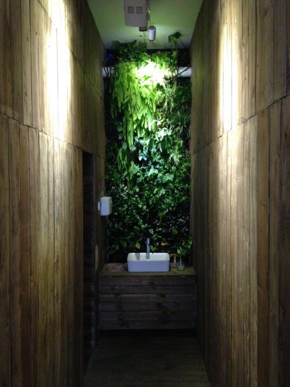 Leading to the washrooms