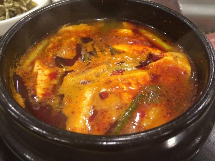 Spicy tofu soup as part of the buffet choices. Non-refillable. Taste ok only. Go for beef soup.