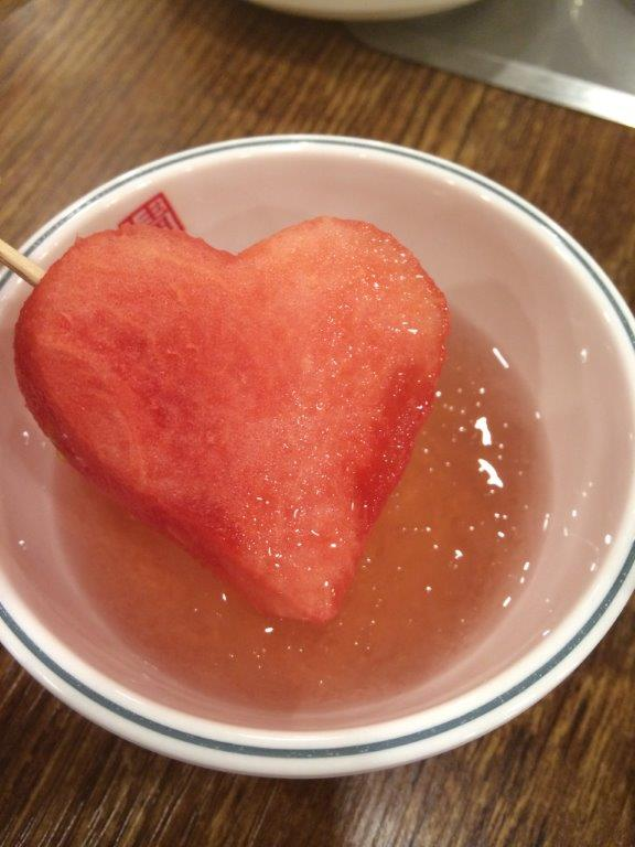 Heart-shaped watermelon given with the cider after dinner.