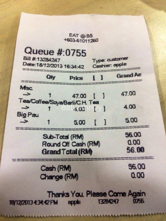 Bill for Tse Char, pau and coffee.