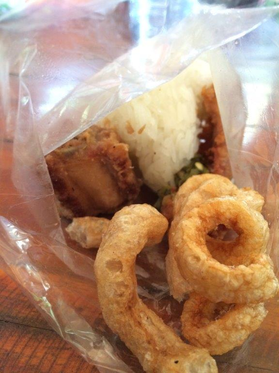 Fried pork skin, pork ribs, chilli and glutinous rice... quite nice actually