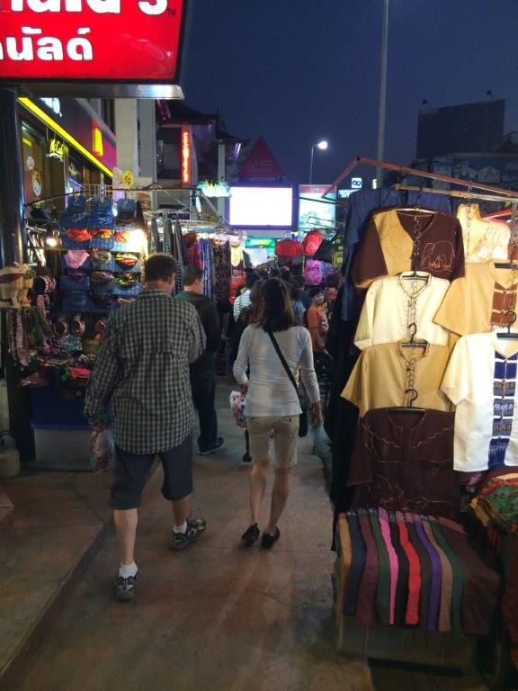Walking the night bazaar to reach Anusarn Market
