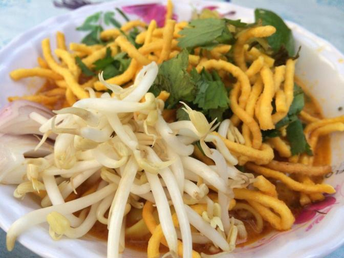 Crispy noodles with curry soup... Think it's known as Khao Soi