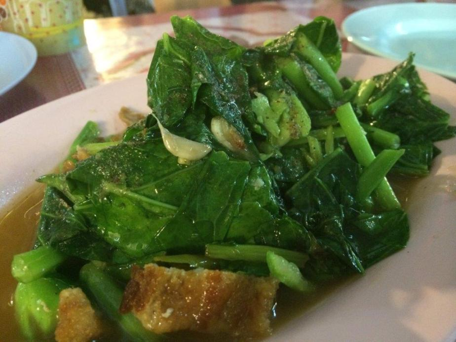 Stir fried kailan with roast pork...