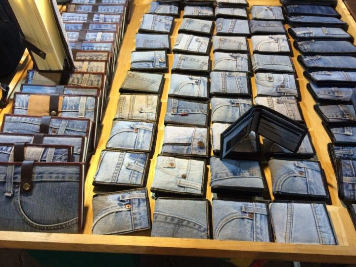 Used jeans made into wallets, very creative