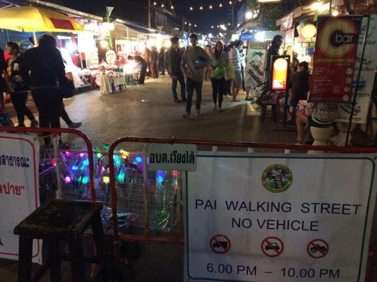 We hit the Walking Street of Pai at night