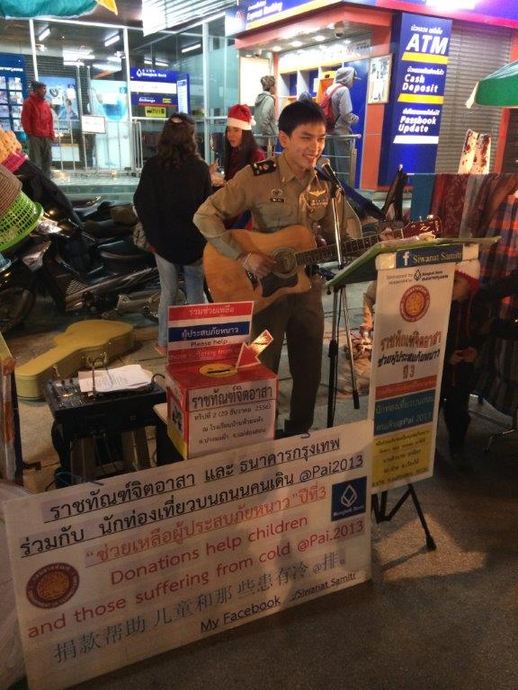 This uniformed guy sang pretty well and raising funds for a good cause! Cute huh gals?