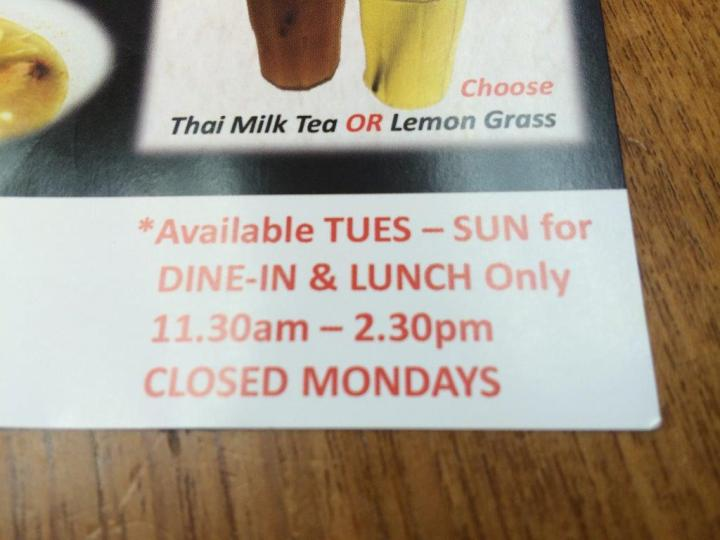 Set meal only available for these times and days.