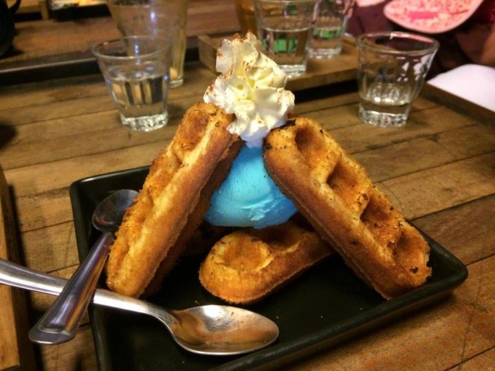 Waffles with blue ice cream