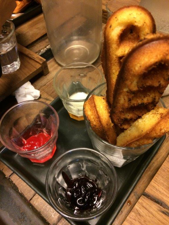 Waffle sticks with chocolate, jam and condense milk dips