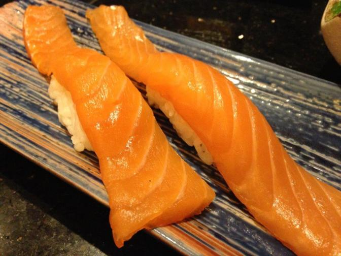 Salmon Tail Sushi RMB14 for 1. You get a lot of salmon in this sushi!