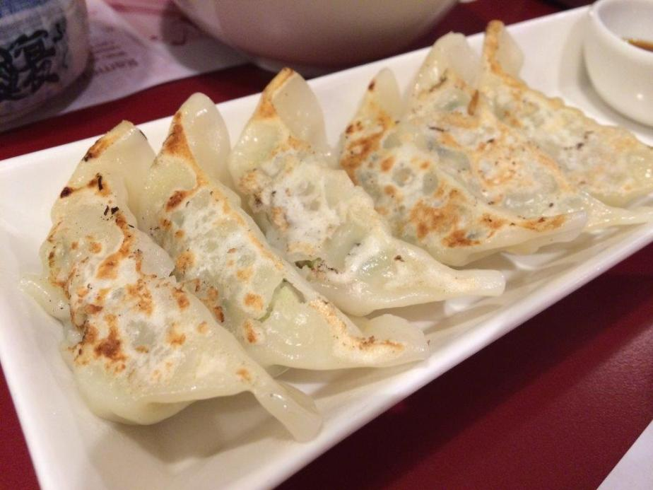 Gyoza side dish. Skin is thin and juicy inside. Nice!