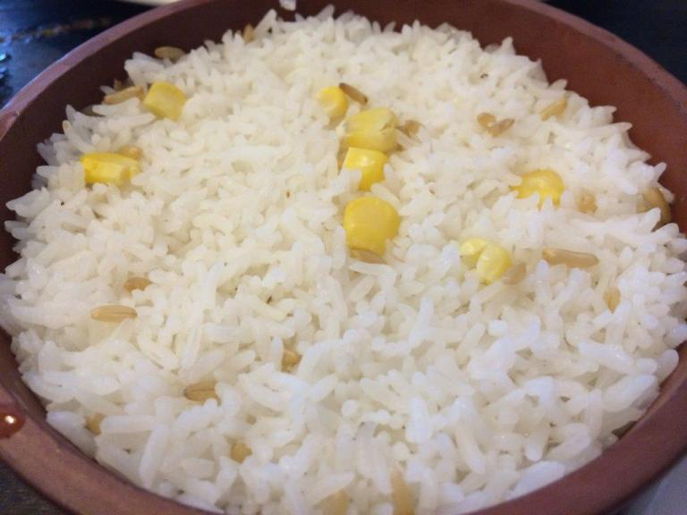 Steamed rice with maize and brown rice - I didn't expect the rice to be like that but this is how the farmers would eat.