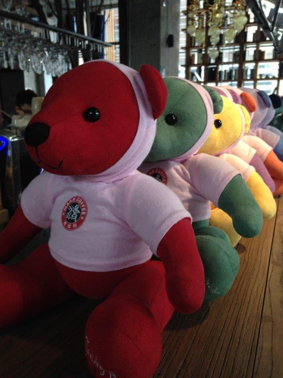 These cute bears aren't for sale... they are passed to you after your order so that the waiters know where to deliver the food and drinks to. No, you can't take home.