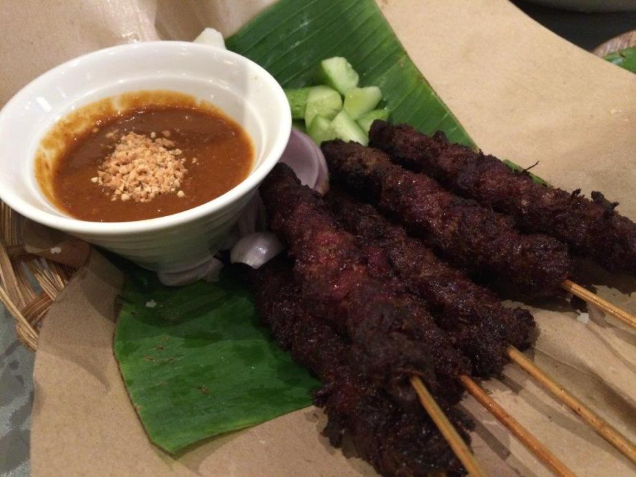 Satay was a little over cooked and hard.