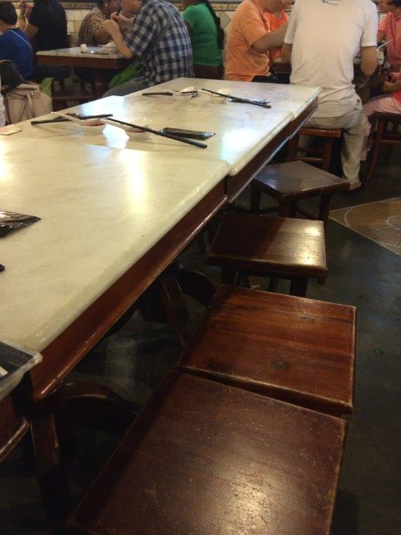Traditional marble top tables.