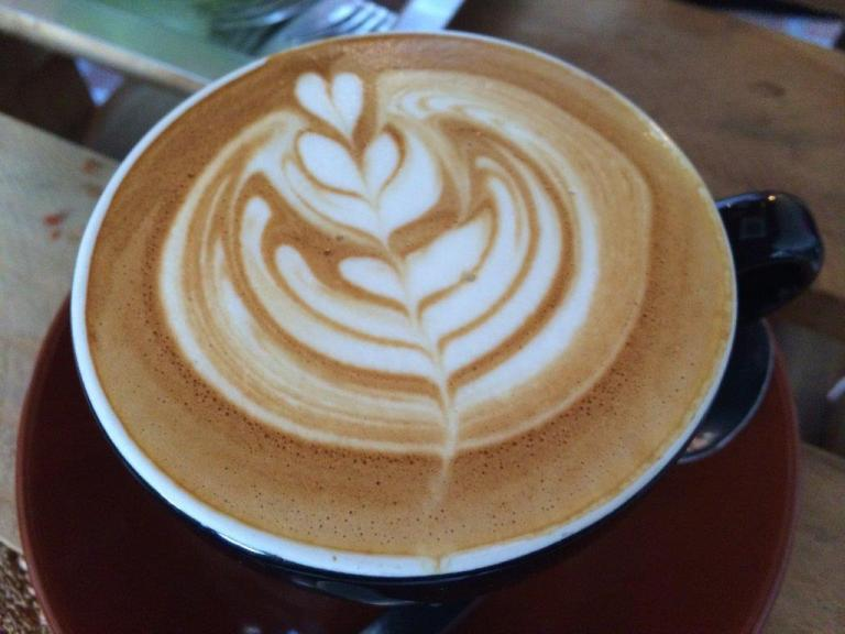 My latte. Not very strong, could be better. Good effort on the latte art, but taste comes first.