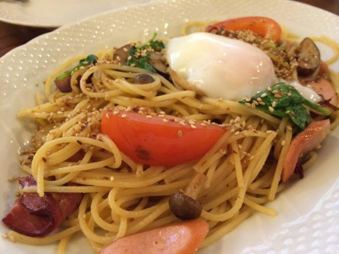 Hoshino Spaghetti With Eggplant, Bacon, Shimeji and Sausage $14.00 - Nothing special