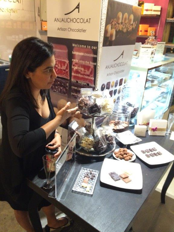 Anjali explaining each chocolate featured for that day.