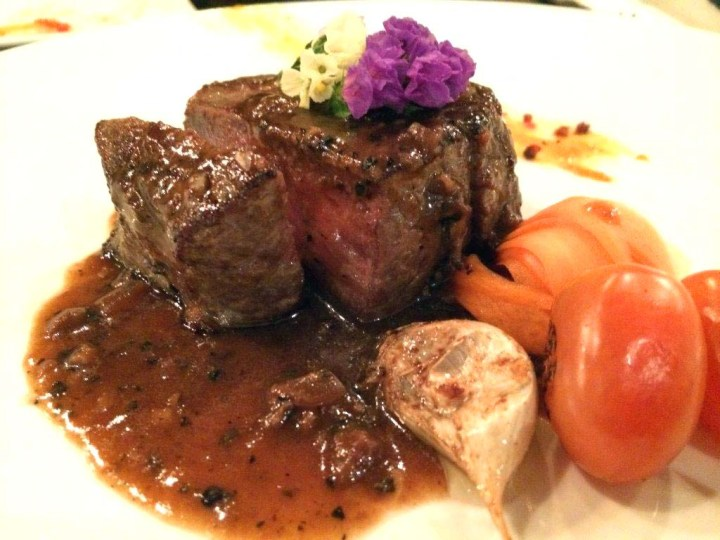 Roasted Beef Tenderloin - In black pepper sauce, Cooked a little over medium so those who are afraid of too much blood would love this.