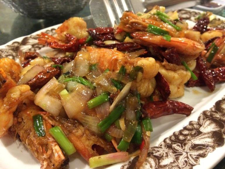 Prawns Sauted in Dried Chilli. Slightly spicy and very appetizing dish.