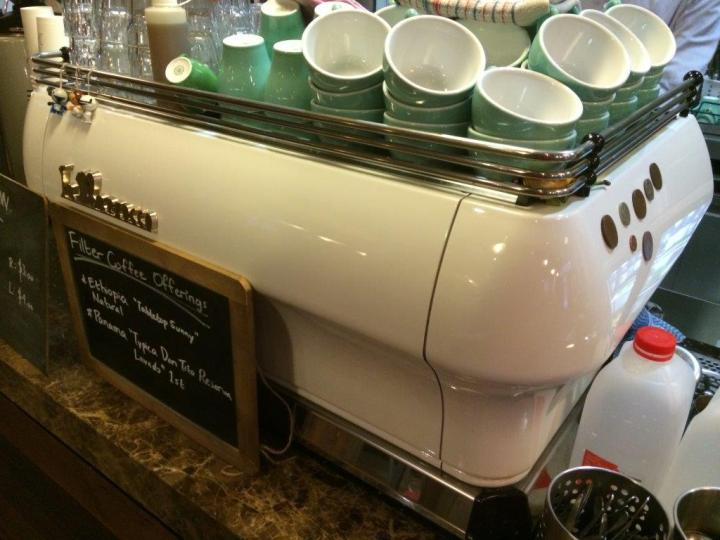Lovely green cups on a white La Marzocco.