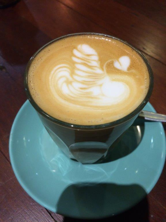 My latte. Beans from Proud Mary, very nice and smooth.
