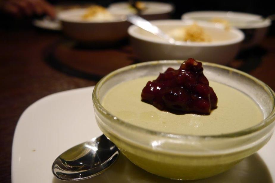 Matcha Milk Pudding ($3.90) -  Served with red bean.