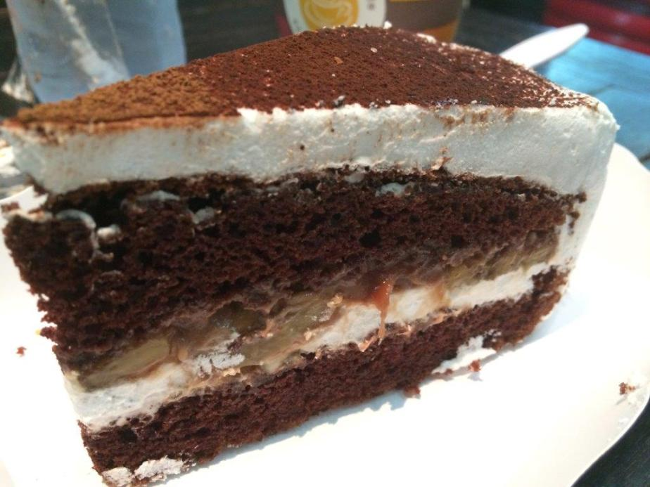 Some cake that looks good but was just too sweet at Taurus Coffee Bar