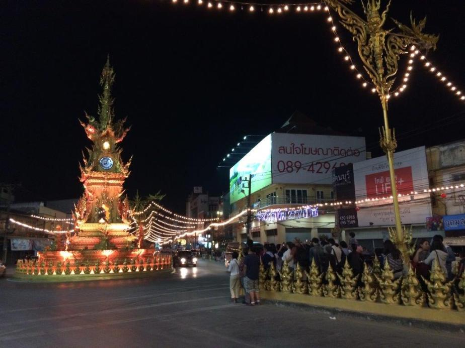 The Clock Tower. See tourists gather at the road divider to take pictures. There is light display at every hour from 7pm. One prime attraction in Chiangrai.