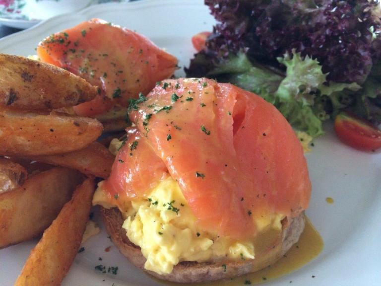My order of Scrambled Eggs Muffin with Smoked Salmon. Yummy!