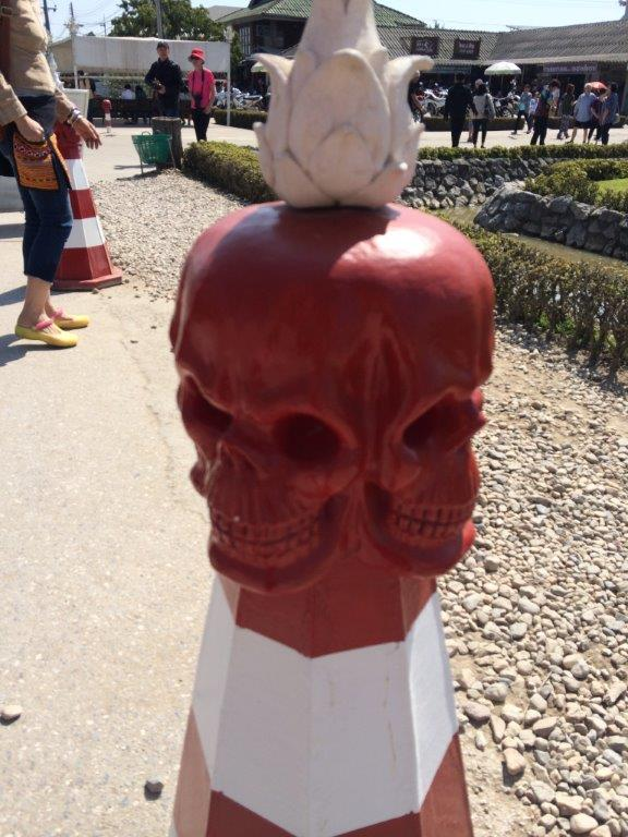 This is actually a road divider cone at the White Temple. I don't understand why they used 4-faced skull... Hmmm...
