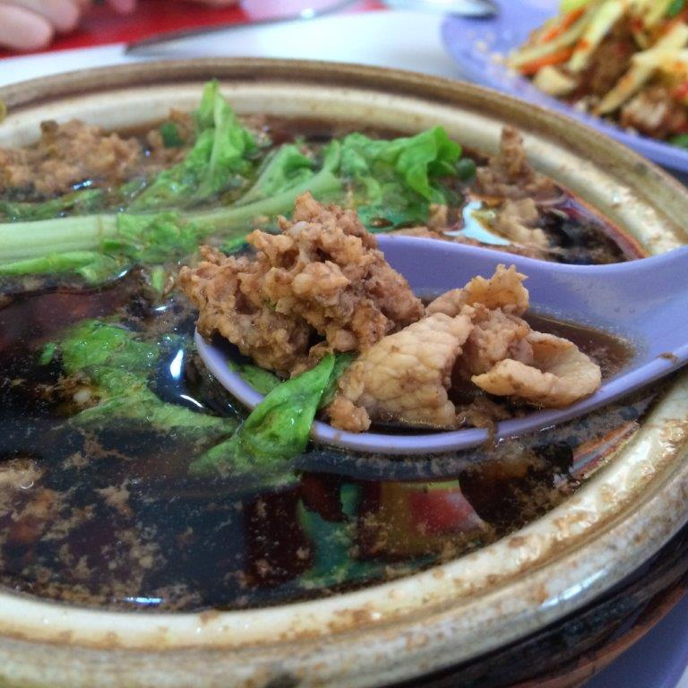 Bak Kut Teh 32727Rp ($3.20). They have versions like this in minced pork and pork slices. Soup is herbal but not too strong. Not bad.