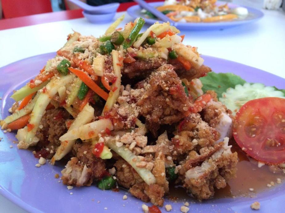 Ayam Rojak 54545Rp ($5.50). Imagine boneless fried chicken mixed in a rojak salad. Quite yummy!