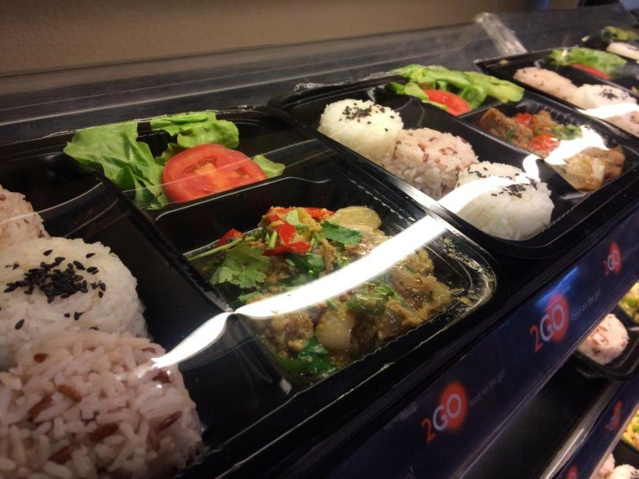 At the supermarket and checking out the Thai bentos. I love bentos!