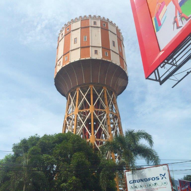 Left the hotel, spotted this and I was told this is actually a landmark in Medan... It's a water tank and will light up at night.