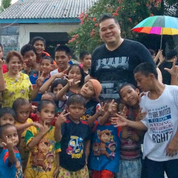 With some of the kids