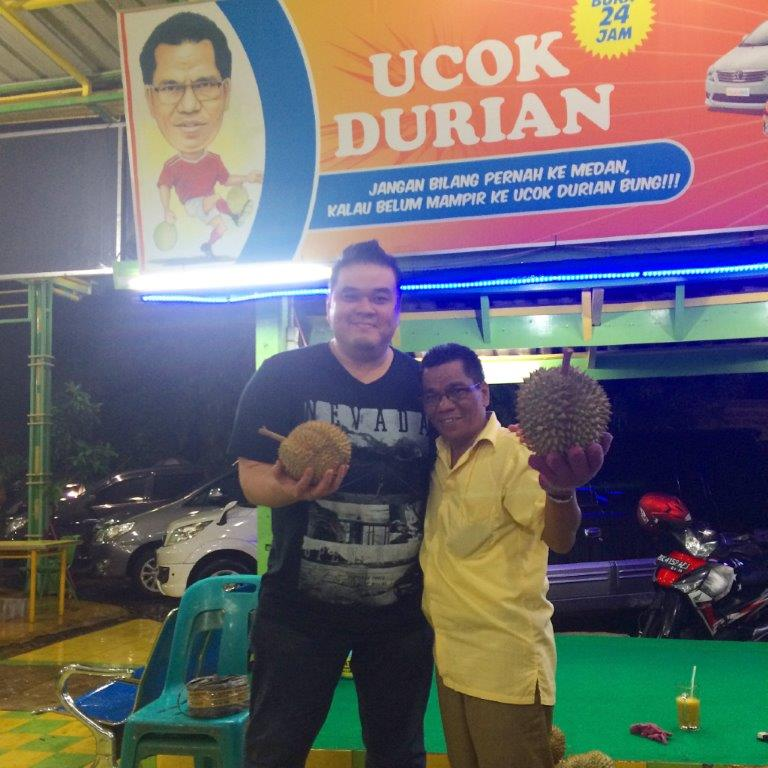 The Durian King Ucok himself and me.